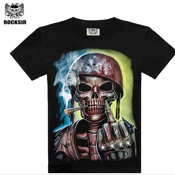 Skull print stock t shirt,cotton t shirt wholesale,black t shirt