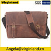 Custom Perfect Office Brown Crazy Horse Genuine Leather Mens Briefcase with Long Shoulder Strap