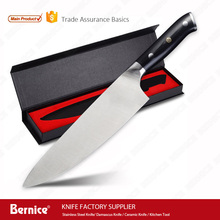 "High carbon germany steel 1.4116 kitchen professional chef knife 8"" blade blank with G10 handle insert 3 rivet in giftbox pack"