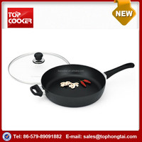 aluminum non stick coating deep frying pan with lid