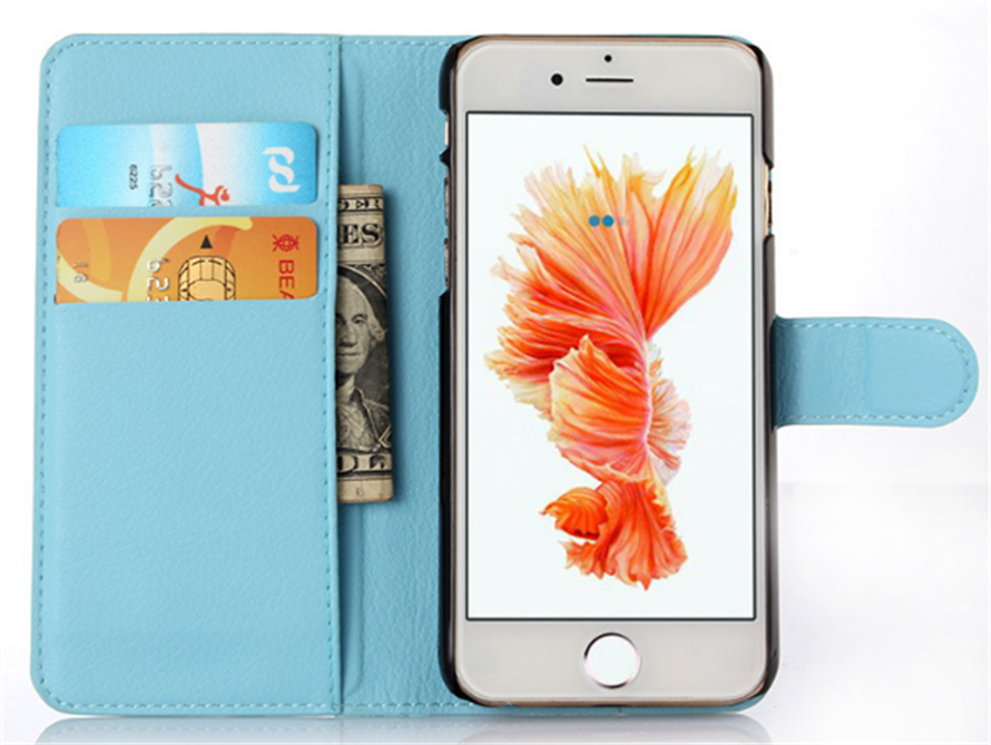 Stand flip pu leather wallet phone case in low MOQ for Samsung for Iphone6 case