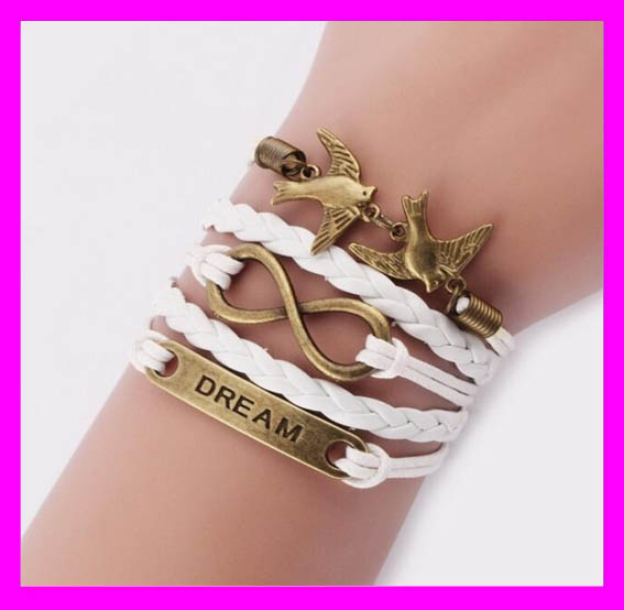 Newest style cheap price engraved braided leather bracelet for women HD6204