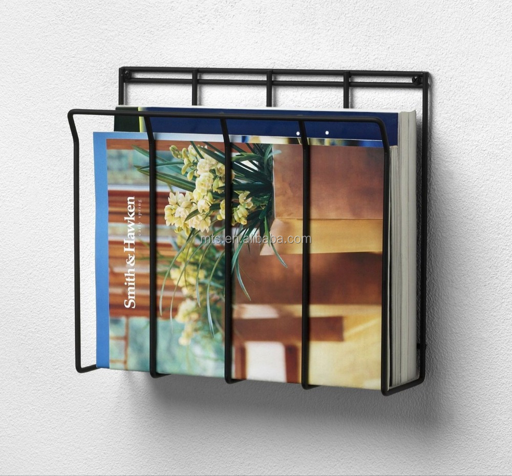 Wall mounted metal wire magazine/book/newspaper holder rack