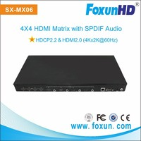 SX-MX06 HDMI Switch Support 4K2K@60Hz, HDCP 2.2, IR, 3D, 4X4 HDMI Matrix/Switcher/Switch