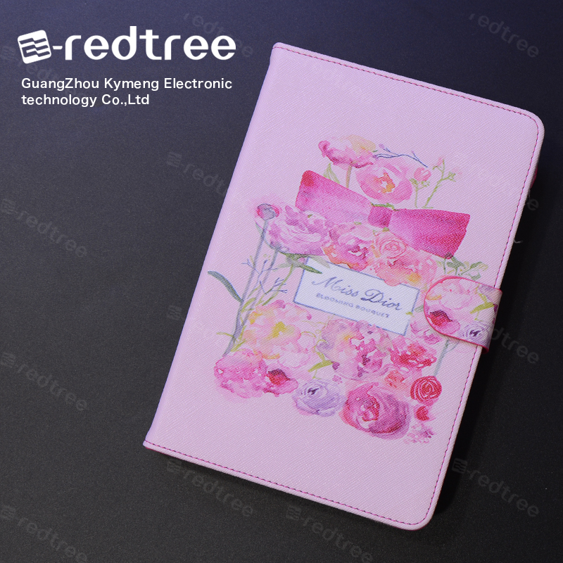 popular printing leather pu tablet standing cover case for ipad