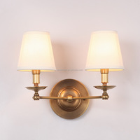 2-Light Fabric Lampshade Copper Wall Sconce Lights European