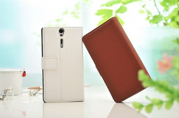 Luxury Lychee Pattern PU Leather stand case for Sony LT26i Xperia S Premium Leather Credit Card Wallet Case cover skin