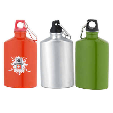 LAKE promotion army aluminum water bottle with carabiner