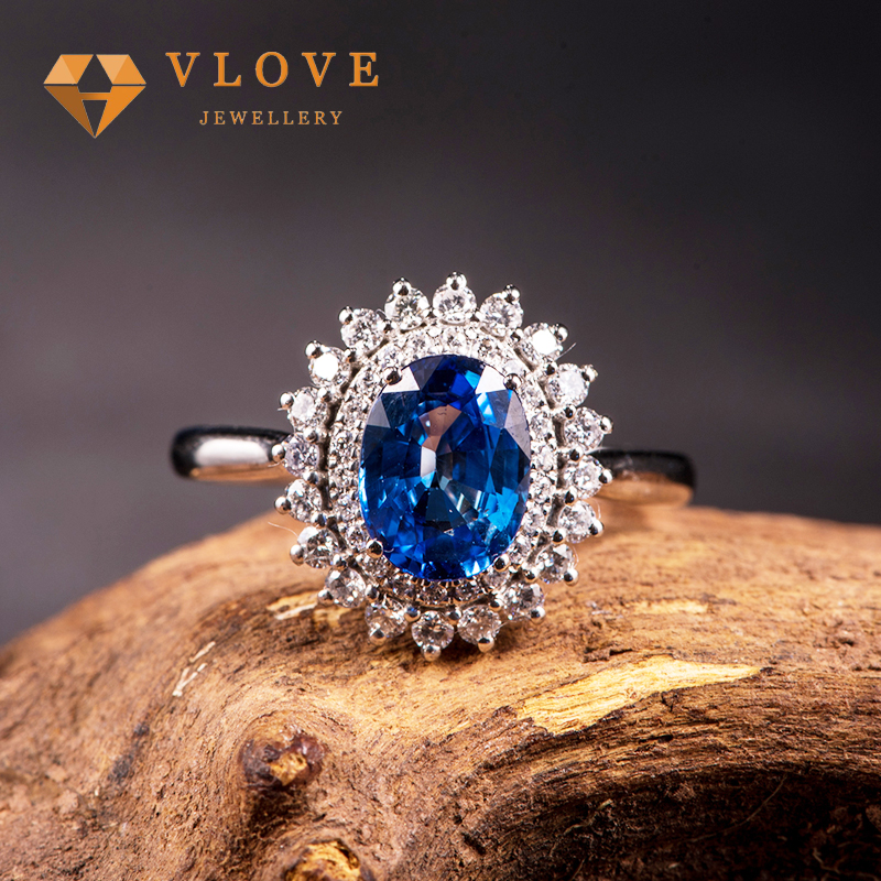 Custom rings jewelry women 925 sterling silver women rings blue diamonds sterling silver jewelry