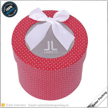 Custom Red Paper Cylinder Packaging Gift Flower Sock Box with Window