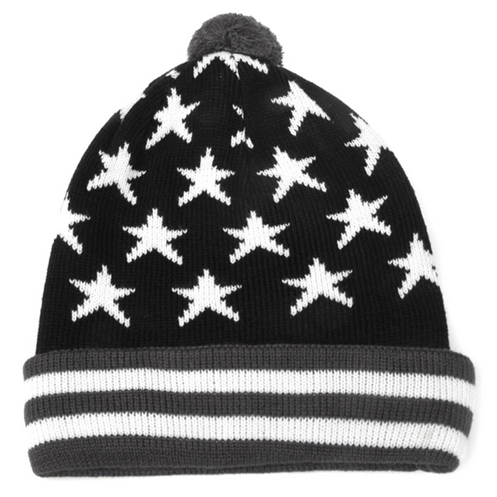 white star pattern beanies hat/Black acrylic elastic adult beanies