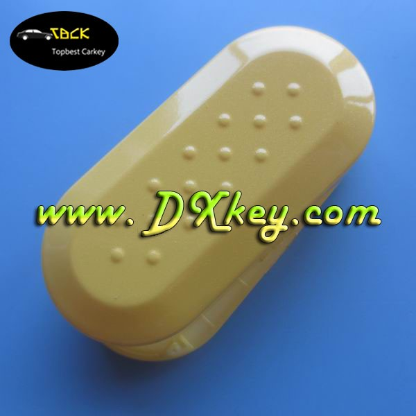 Well soled plastic key holder for Fiat 500 Stove varnish cover in yellow Fiat key shell Fiat 500 key cover