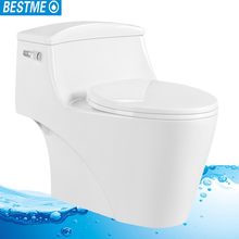 Siphonic jet flushing elongated floor mounted ceramic one piece wc toilet made in China