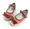 Lovely striped canvas shoes kids baby casual shoes girls with bow buckle strap