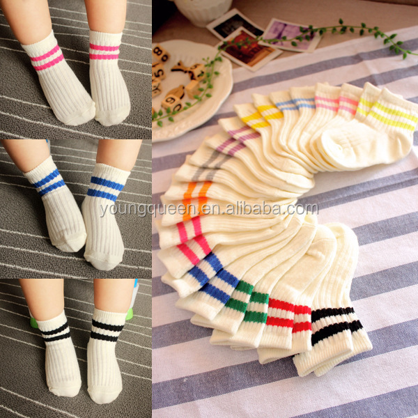 ZT48 Baby Girl Knee High cheap colorful striped knee high socks white