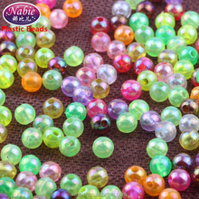 2mm 4mm 5mm 6mm 8mm 10mm Plated AB color round plastic beads in bulk for wholesale