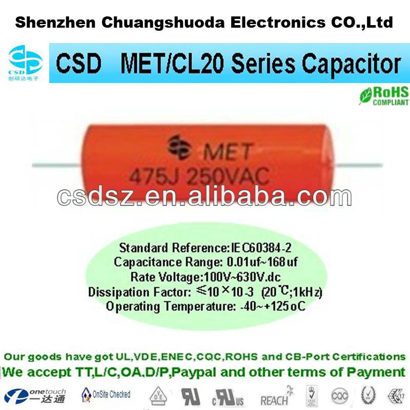 MET / CL20 axial type car audio farad capacitor