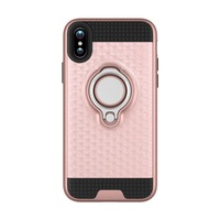 New products 2017 mobile phone shell tpu pc hybrid shockproof ring holder armor phone case for iphone X
