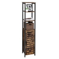 VASAGLE industrial antique living room narrow slim thin tall wood side storage cabinet with 3 shelves