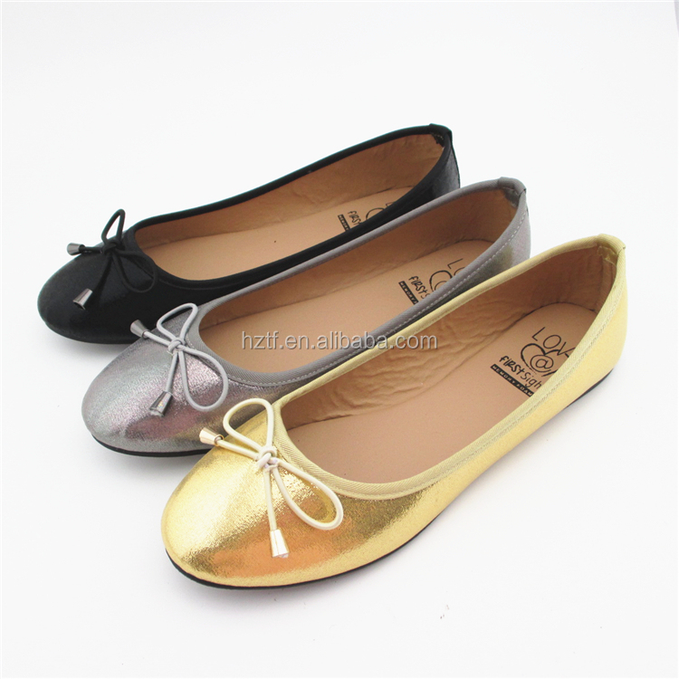 Gold Silver Black Women's Ballerina Flat Shoes