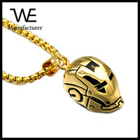 Hot sale movie prop gold robot helmet necklace stainless steel