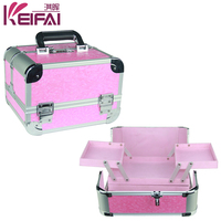 High-End Pink Pu Double Open Carry Aluminum Makeup Storage Box With 4 Trays