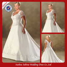 WPS0036 Custom Made Super Cap Sleeve Plus Size Wedding Dress With Long Train