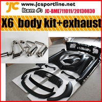 for BMW X6 HM wide car front rear bumper led lamps side skirts arch wheel fender flare rear trunk&roof spoiler exhaust