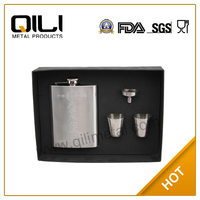 7oz embossed stainless steel hip flask cheap cup set promotion