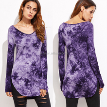 tie dye t-shirt long sleeve full print color round neck ladies clothing custom purple tie dye curved hem t shirts for women
