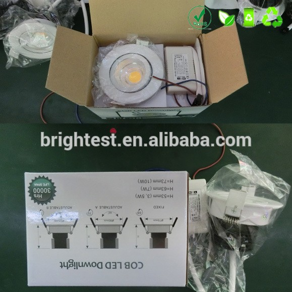 3 years warranty led fire rated downlight 7w 12w round square recessed rimless cob led downlight 60w