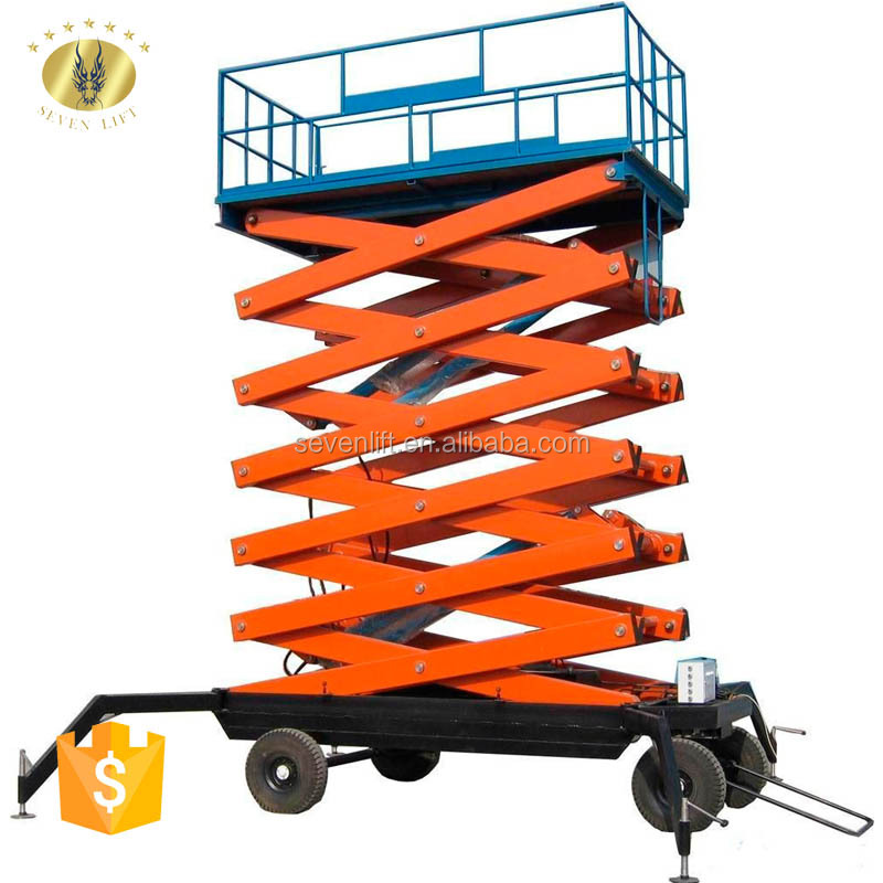 7LSJY Shandong SevenLift Safety Assured Automatic Hydraulic Mobile Basket Scissor Man Lifts