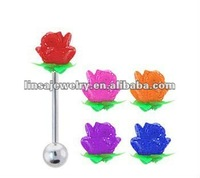 Silicone Rose Tongue Barbells French Tickler