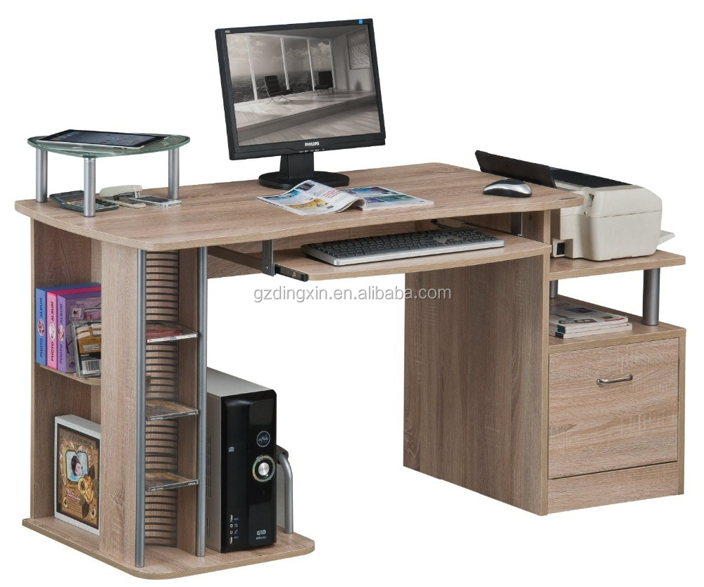 furniture home executive wood veneer office desk with cabinet CD rack