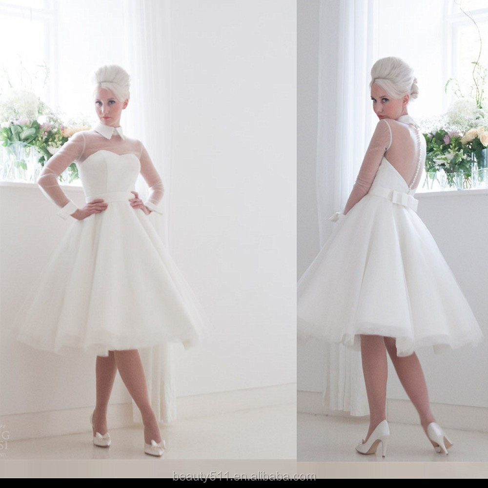 New Fashion 2016 A-line High Collar illusion Long Sleeve Tea-length Short Satin Tulle Wedding Dresses Gown D16-101