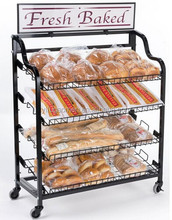 "39""w Bakery Display Rack w/ Wheels, 4 Shelves & Header - Black"