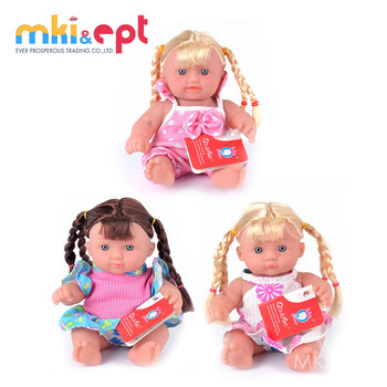 Free sample PVC material cute silicone 8 inch reborn baby doll for sale
