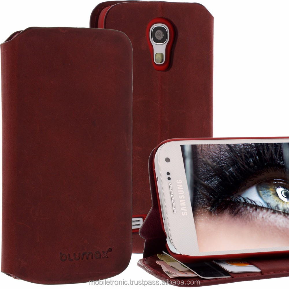 Geniune Leather Lucca Bookstyle case for Samsung Galaxy S4 Mini i9190 i9195 Red Cow Leather