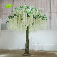 GNW BLS1606001-WT Latest design Near natural Artificial tree White wisteria blossom with Green Leaf for Wedding Decoration
