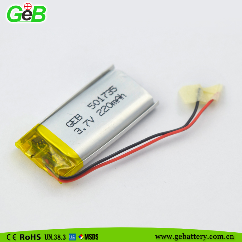 GEB 3.7V 501735/220mah lithium polymer rechargeable lipo battery for wireless mouse