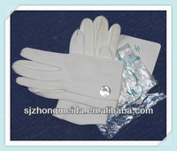 NEW WHITE 100% COTTON UNIFORM, DRESS PARADE,INSPECTION GLOVES WITH SNAP BUTTON