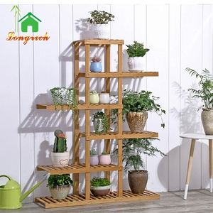 Living Room Modern 3/4/5/6 Tiers Wood Bamboo Flower Pot Display Stand Design