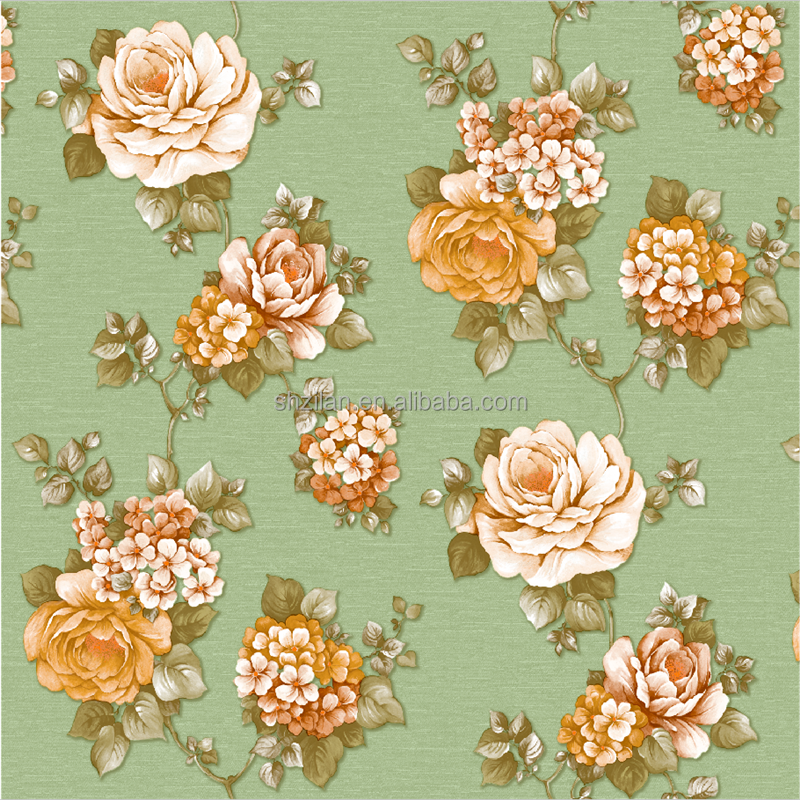 Green background and flower design wall paper