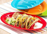 Taco Divider Plates Set - Keep Shells Upright Dish W/ Side Sections