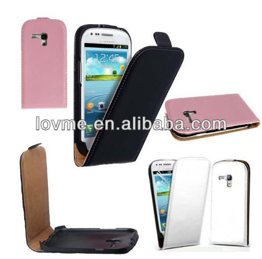 High quality many color available flip genuine cow leather phone case for samsung galaxy SIII S3 S111 Mini i8190