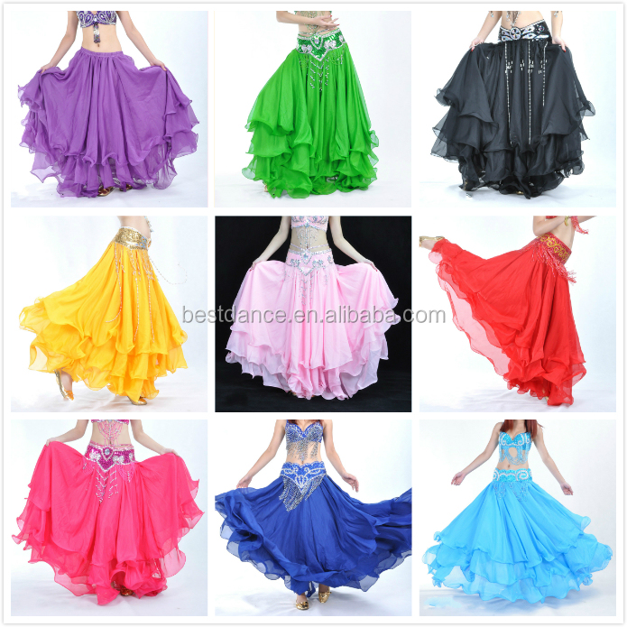BestDance Belly Dance Skirts High Quality Belly Dance Costume Full Tribal Gypsy Three Layered Skirt for Women Gilrs OEM