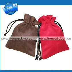 Supper desigh suede tea pouch drawstring cheap shopping bag