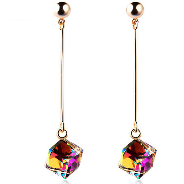 Fashion fine jewelry big earrings with stones multicolor large long drop crystal red jewelry dangle earrings Brincos