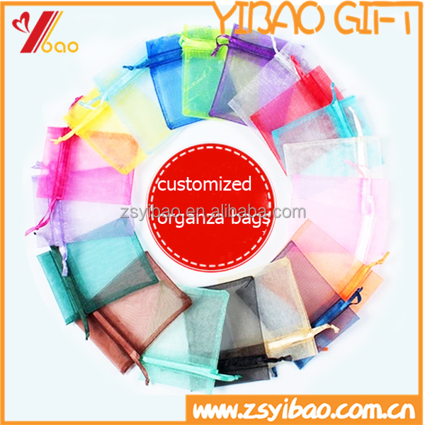 2016 Colorful organza drawstring gift bag for Christmas decoration