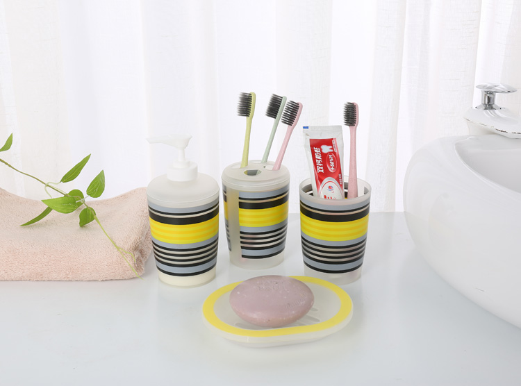 6pcs PS plastic bathroom sets hotel bathroom accessories set with printing